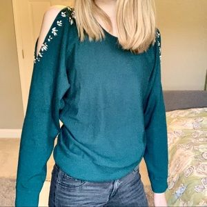 Anthropologie knitted and knotted beaded sweater
